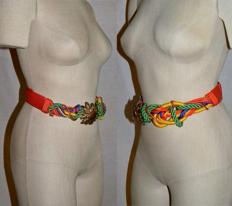Boho Gypsy OOAK Colorful Orange Art to Wear Adjustable  26.5-36.5 Vintage 80s Cord /& Brass Daisy Belt