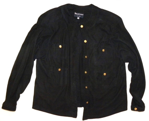 Blouse Black M Kid 1970's Suede 80s S Jacket Luxury 4Swq1