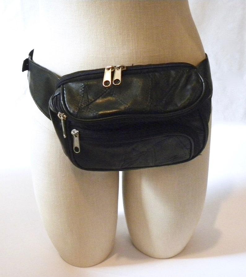 Vintage 80s 90s Black Leather Fanny Pack  Patchwork Leather Belt Bag  Carry All Men Women  bum bag