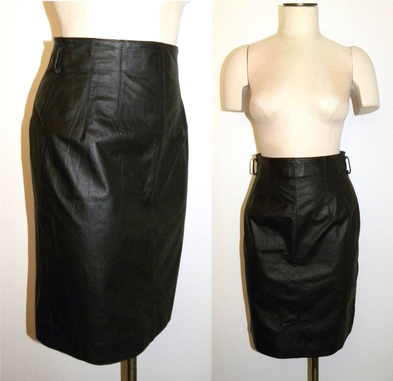 dc8e58a2d 1980s 90s Black Leather Pencil Skirt / High Waist Wiggle Skirt | Etsy