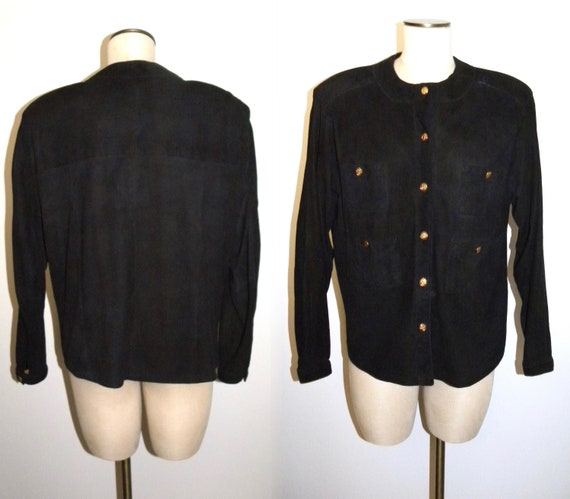 Blouse Black Kid Suede Jacket Luxury 1970's M 80s S qZIPwxxR5