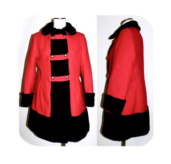 1960's 60s MOD Princess Coat / RED Wool Russian P… - image 2