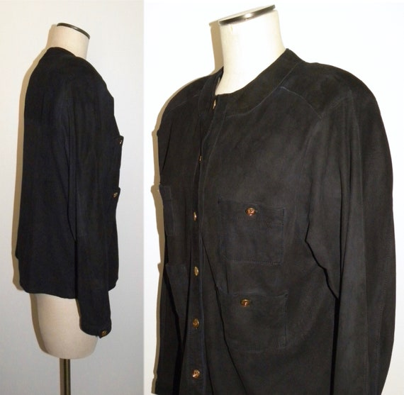 Kid Black Blouse Jacket M Luxury Suede S 1970's 80s xCwaTT