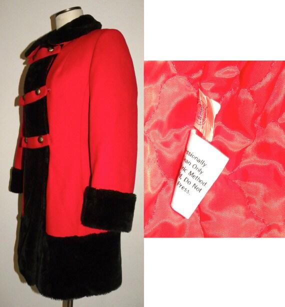 1960's 60s MOD Princess Coat / RED Wool Russian P… - image 8