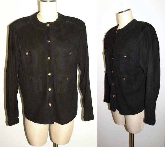 1970's Kid Jacket Blouse Luxury Suede S Black M 80s raUnPcvr