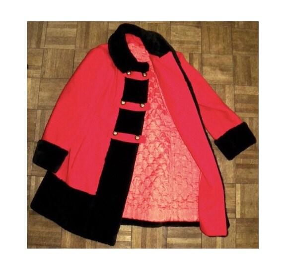 1960's 60s MOD Princess Coat / RED Wool Russian P… - image 6