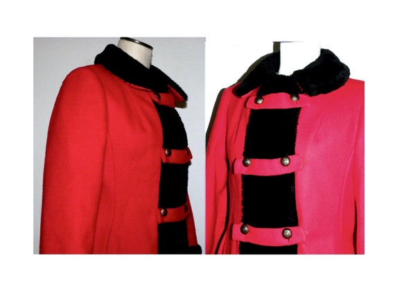 1960's 60s MOD Princess Coat / RED Wool Russian P… - image 5