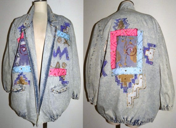 Vintage 80s 90s ACID Wash Denim Jacket / Painted S