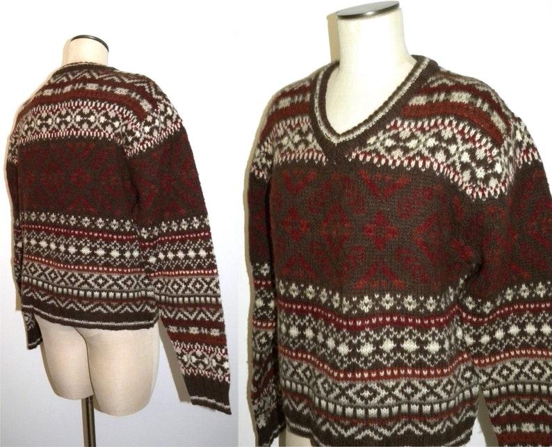90s era COLUMBIA Shetland Wool Fair Isle V Neck Sweater Jumper / women L  44