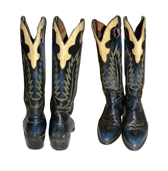 Vintage Boulet Cowboy Boots | Blue & Yellow Leathe