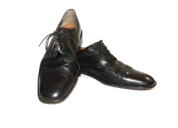 753aec248c638 Vintage Black Leather Italian Cap Toe Oxfords   Classic Mario