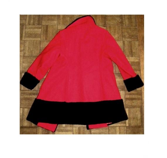 1960's 60s MOD Princess Coat / RED Wool Russian P… - image 7