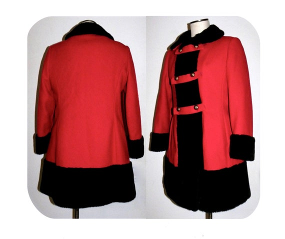 1960's 60s MOD Princess Coat / RED Wool Russian Pr