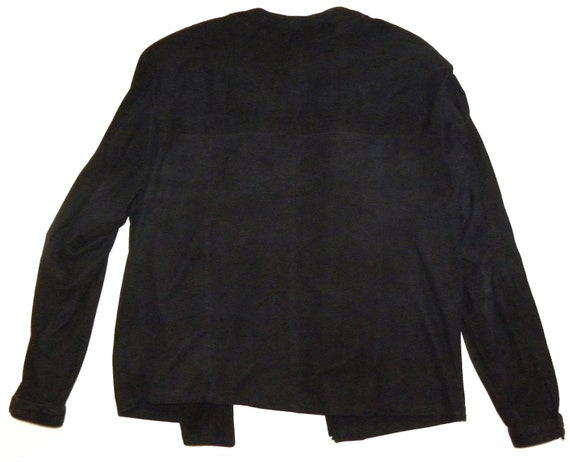 Luxury Jacket Suede Blouse 80s S M Kid 1970's Black qFtwRxYwX