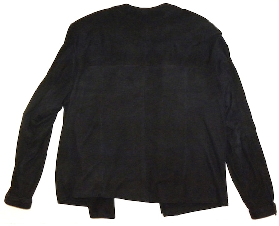 M Jacket Luxury 80s S 1970's Blouse Kid Suede Black d8XxqwfwY