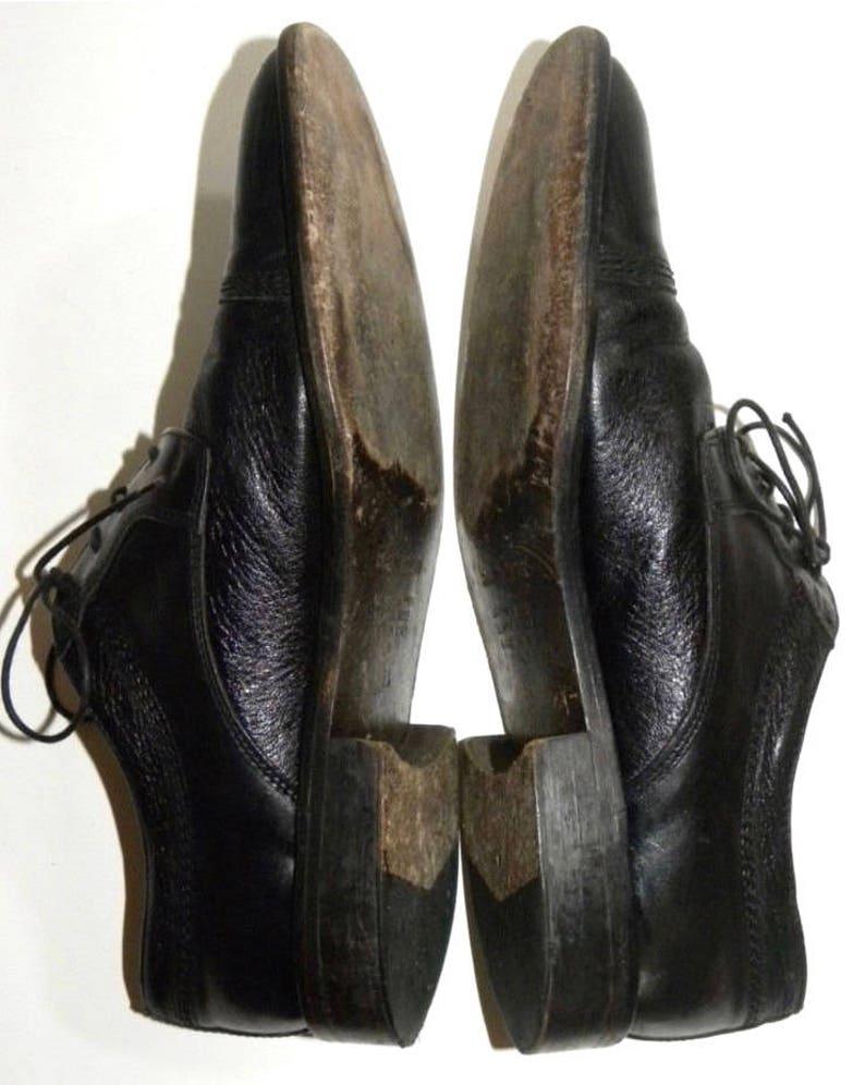 Vintage Black Leather Cap Toe Oxfords  Classic Mario Calugi ITALY Luxe Men/'s Size 9.5 M