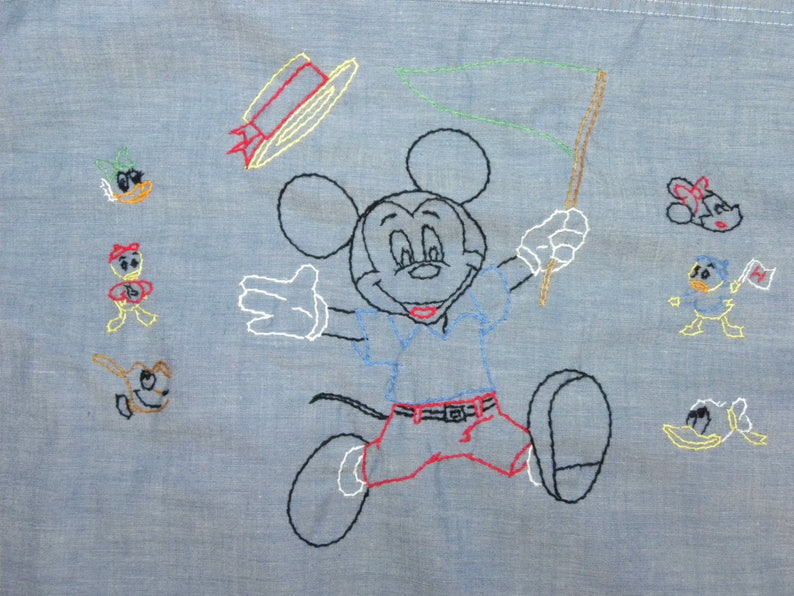 1970s 70s Embroidered Mickey Mouse Boyfriend Shirt Hand Embroidered Big Mac Chambray Work Shirt Disney Characters  40 chest