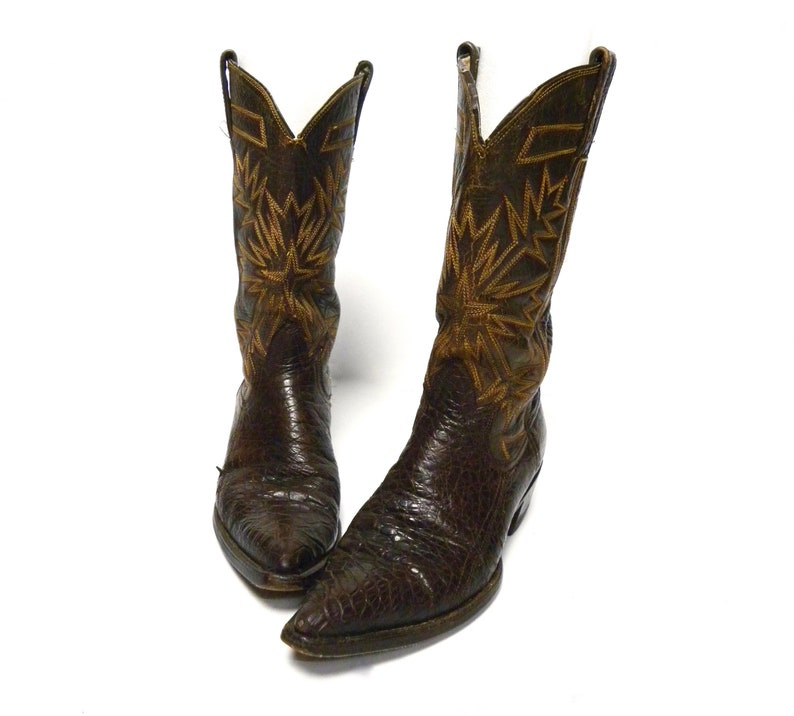 db251fb498d Vintage Cowboy Boots Brown Croc Stamp Alligator Leather Distressed Western  Boots Women size 7