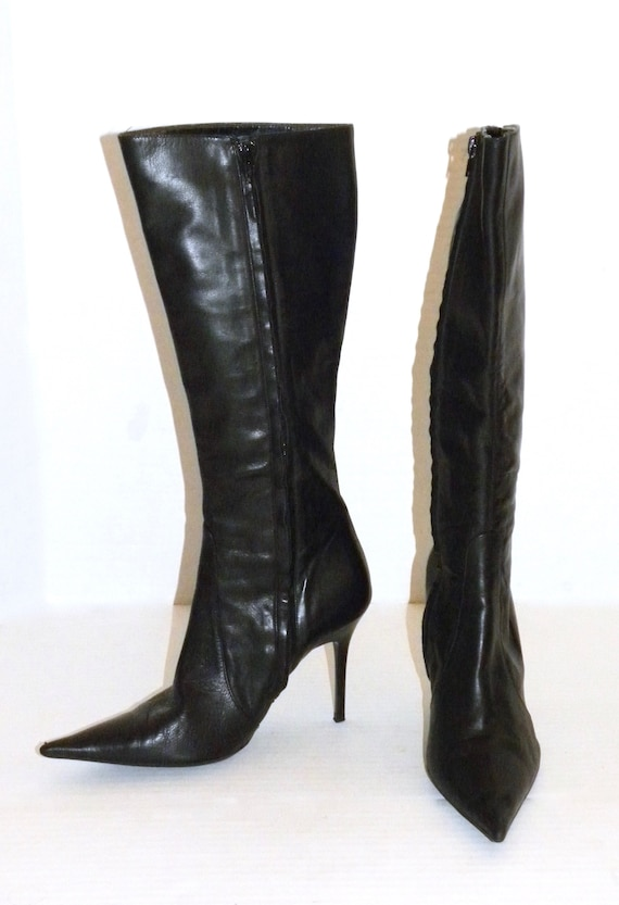 Toe 38 Pointy Italy Made Women Leather Boots CHIC BLACK LUXE 90s Vintage size Zip Up aq044w
