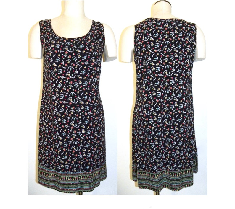 Whimsical Smell the Flowers Print Shift Vintage 90s Rayon Tank Dress Retro Sundress XS-S