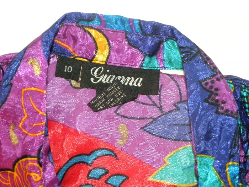 Vintage 80/'s Silky Blouse Baroque Jewel Tones RED Purple Fits S