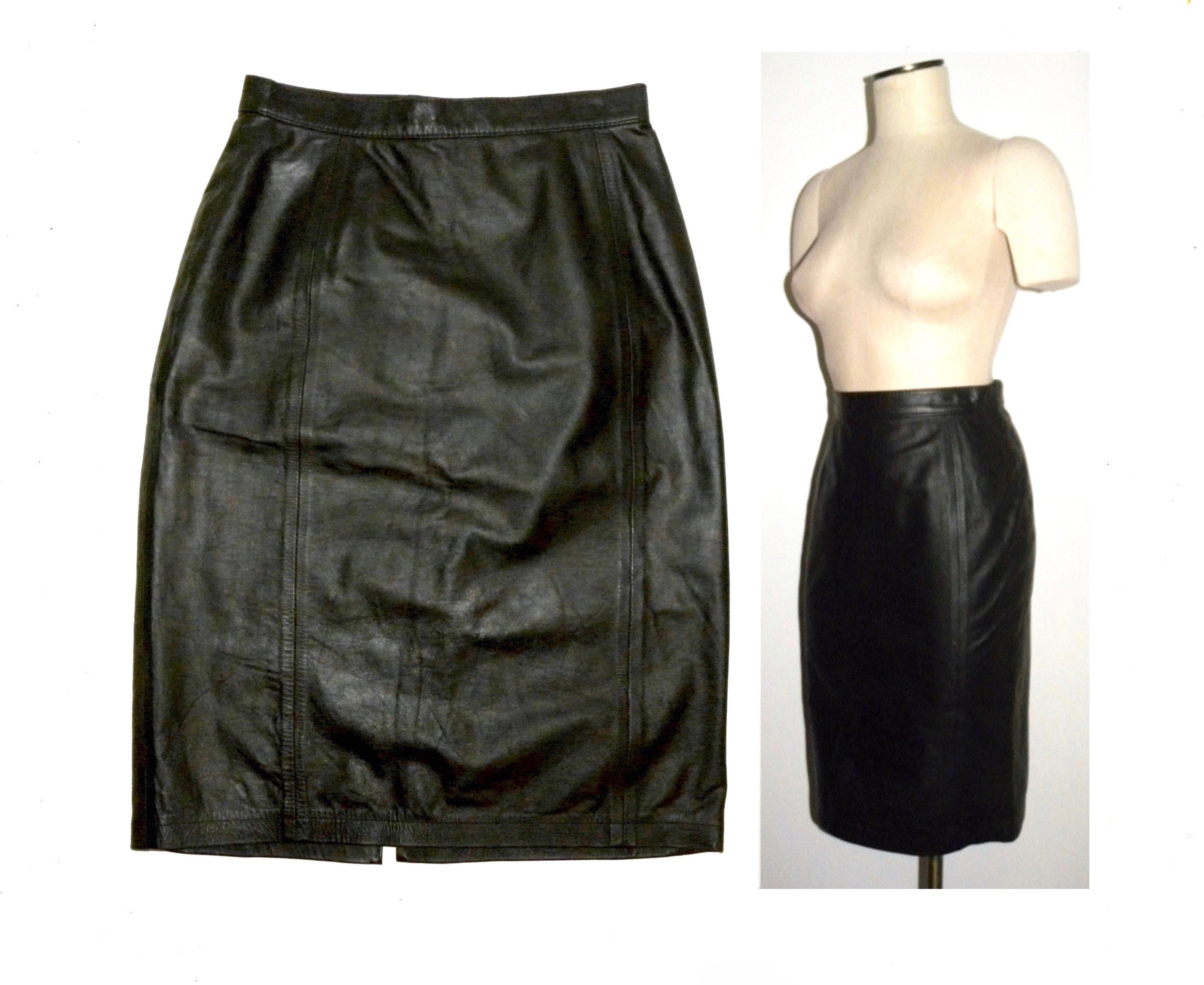 165ae7a11 1980s 80s Black Leather Pencil skirt / Wiggle Skirt Tight Fit | Etsy