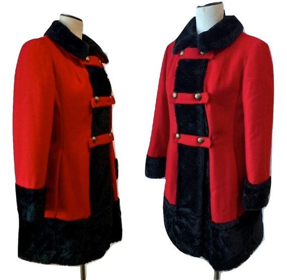Vintage 60s RED Princess Coat   MOD Wool Russian P