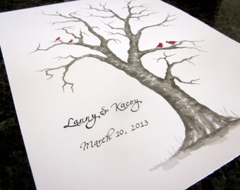 SMALL MAPLE Thumbprint Guest Book Tree - 12x16  Customized Giclée Print of my ORIGINAL Painting.  Up to 60 guests.