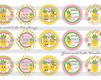 """Pineapples Summer INSTANT DOWNLOAD Bottle Cap Images 4x6 sheet 1"""" circles"""