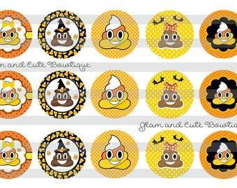 "Halloween Emoji POOP Candy Corn Trick or Treat INSTANT DOWNLOAD Bottle Cap Images 4x6 sheet 1"" circles"
