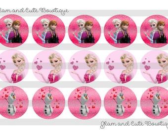 "Valentine's Day Frozen Elsa Anna Olaf INSTANT DOWNLOAD Bottle Cap Images 4x6 sheet 1"" circles"