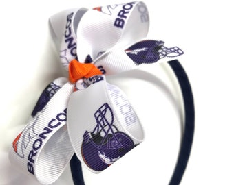 Denver Broncos Hair Bow With or W//O Headband Baby Toddler NFL*SHIPS FREE