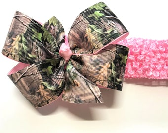 Baby Infant Headband Redneck Deer Hunter Camo Camouflage Bow ~You Pick Color~