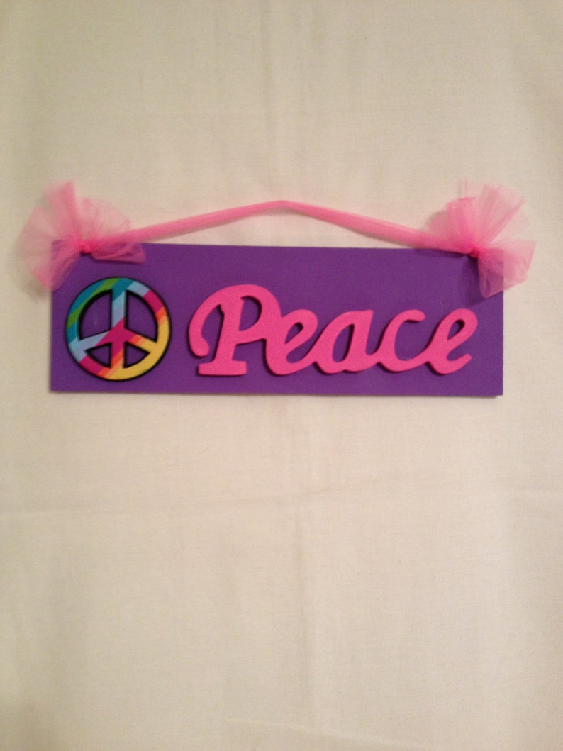 Girls Peace Sign Bedroom Wall Decor Peace Sign Room Decor Wood Wall Sign