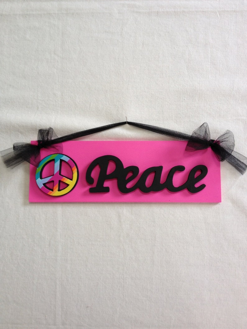 Girls Peace Sign Bedroom Wall Decor Hot Pink and Black Peace Sign Room Decor