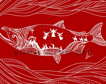 Christmas Salmon set of 10 (5X7) cards with envelopes