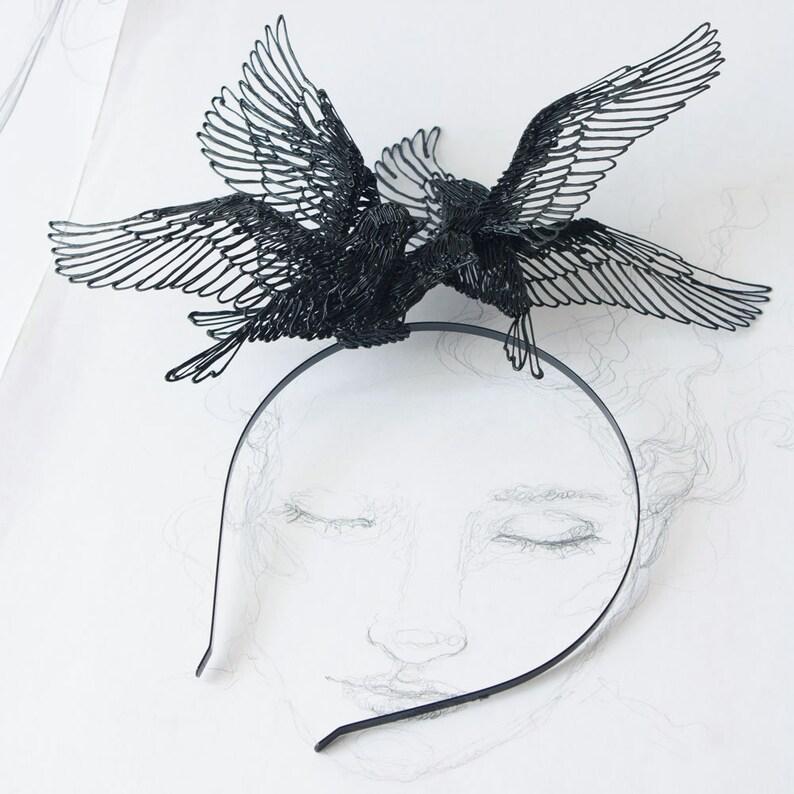 Black Wedding crown Black Birds headpiece Festival Headpiece image 0