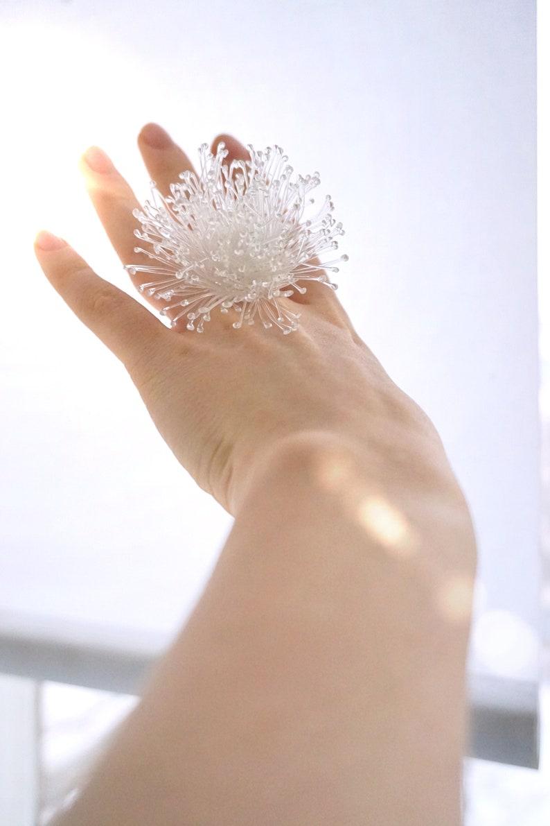 Tender ring Crystal transparent ring Floral ring Massive image 0