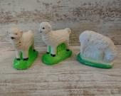 3 Vintage Sheep Lamb Chalkware Plaster Miniature Putz Nativity Easter Animal Terrarium Fairy Garden Toy Craft Supply Lot Barn ( 4423)