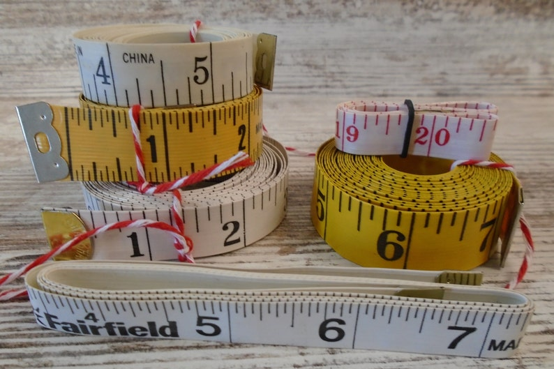 #4271 6 Tape Measure Lot Sewing Measure Vinyl Plastic Craft Sewing Lot Mixed Media Altered Art Junk Journal Scrapbook Supply