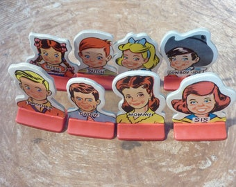 8 Head of The Class Cardboard Game Pieces People Token Vintage Game Supply Craft Lot (#1154)