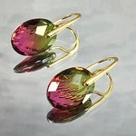 WATERMELON TOURMALINE Earrings Faceted Jaipur Glasswork Gold Vermeil Ear Wires Fascinating Blend of Ancestral Technology Evolving Technology