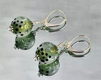 FIRST BUDS on the WILLOW Earrings Brilliant Shards of Yellow Dichroic Glass Swirl through Windowed Clear Etched Beads > Pale Yellow Glow