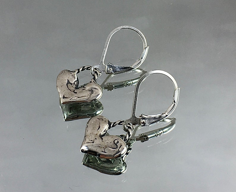 SWELLING HEARTS Sterling Silver Plump Hearts with Braided Loop image 0
