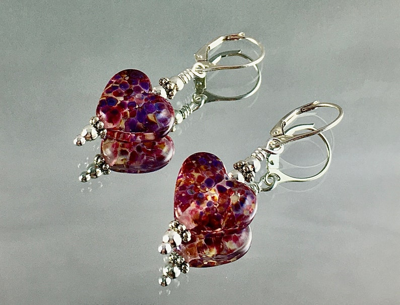TICKLED PINK and PURPLE Lampwork Earrings Sterling Leverbacks image 0