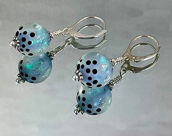 BESIDE STILL WATERS Earrings Superb Artisan Lampwork Tiny Shards of Dichroic Pale Turquoise Swirl Through the Etched Beads Extraordinary