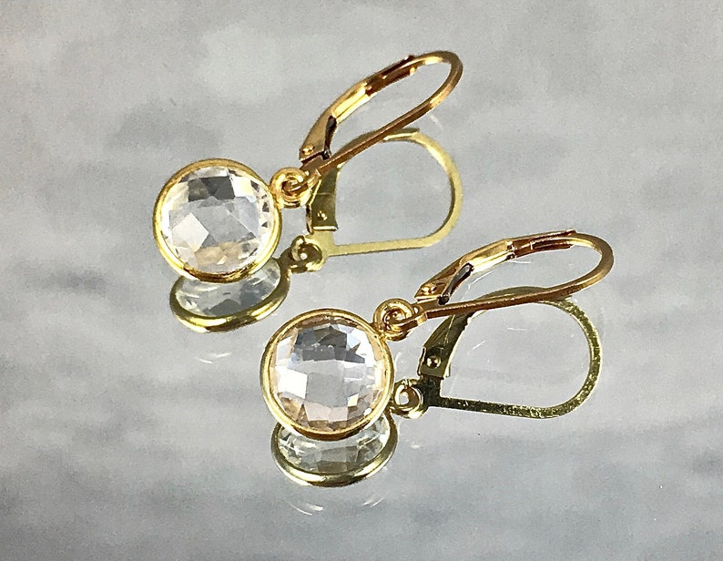 FACETED CRYSTAL Earrings Clear Crystal Mined in Brazil image 0