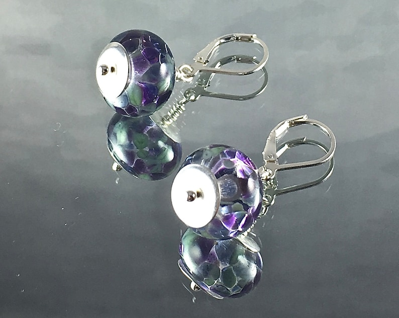 LILACS on the NIGHT WIND Earrings Lampwork with Lilac and image 0