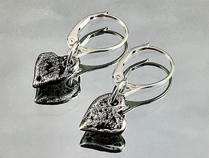 SOLID STERLING HEART Earrings London Silversmith Sterling image 0