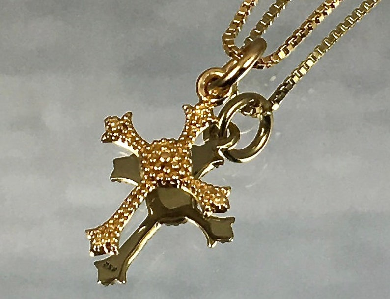 GOLD VERMEIL CROSS Pendant 24K Gold Over Sterling Silver Gold image 0